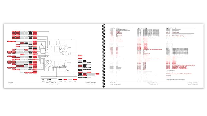 Second floor location map and corresponding message schedule
