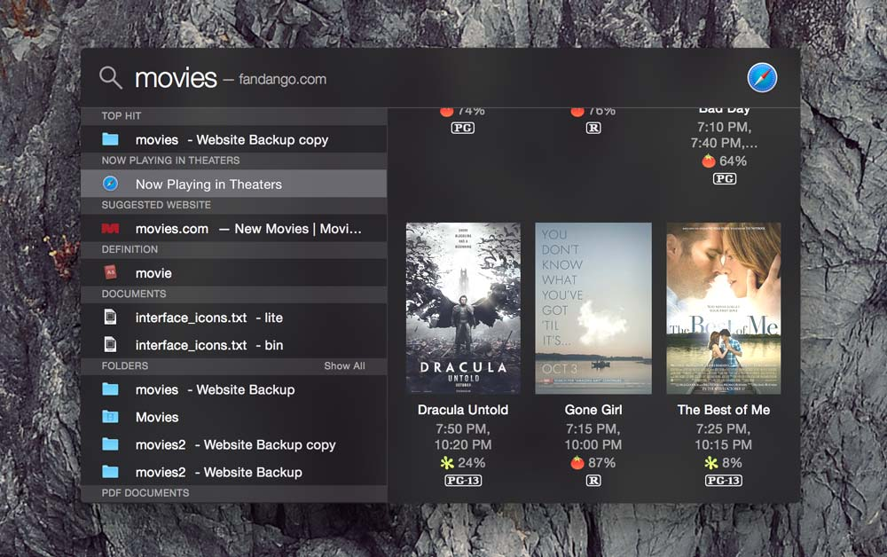 The new Spotlight searching for movies