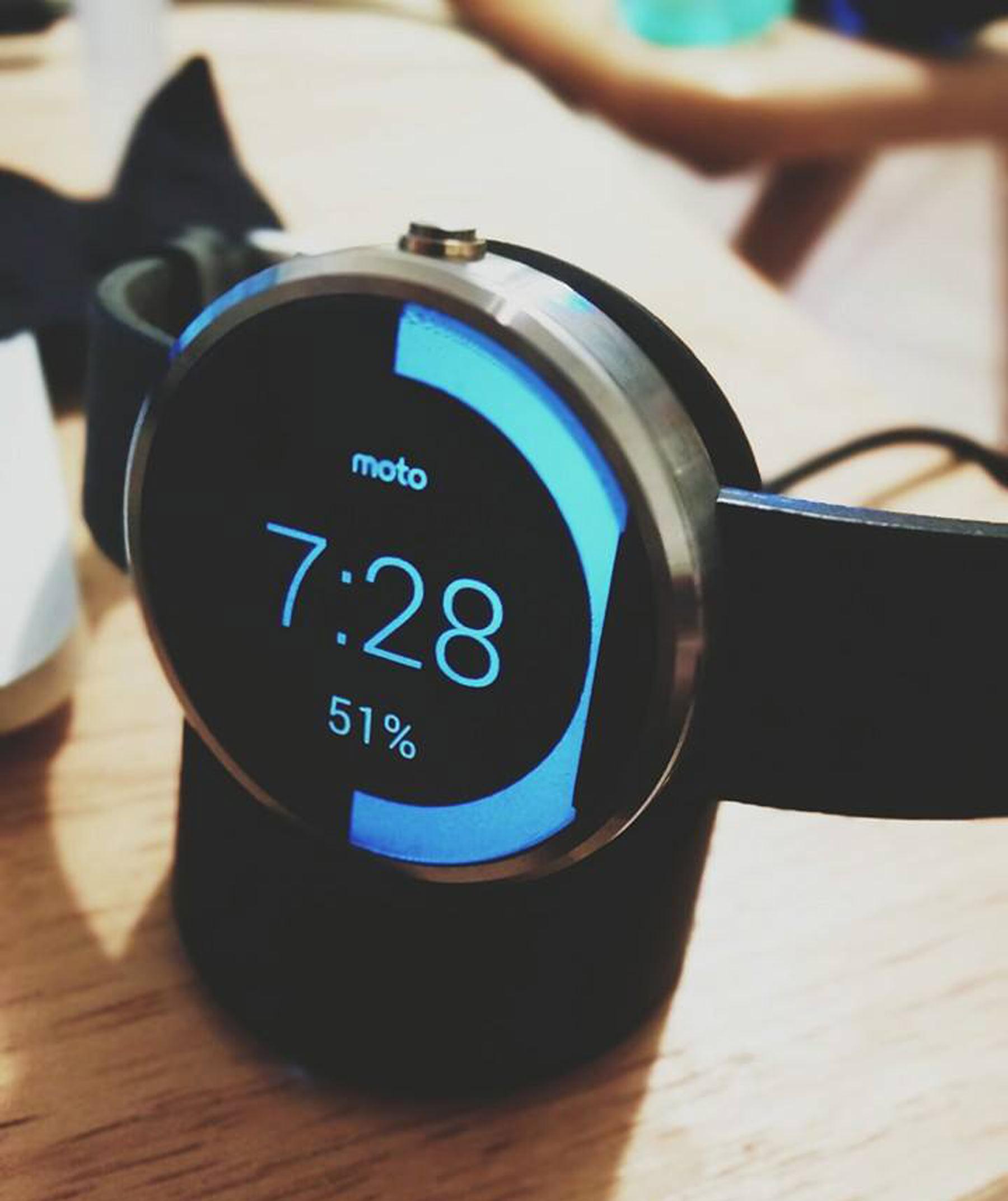 Moto360 on charging base